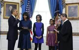 President Barack Obama with First Lady and Daughters at Swearing In 2012