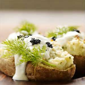 Baked Potato Topped With Caviar