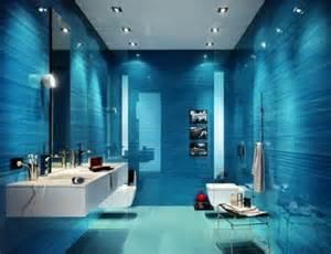mans blue bathroom