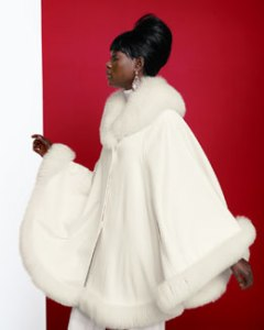 Cashmere Fox Fur Trim Shawl Cape at Neiman Marcus