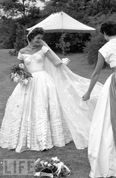 Bride Jackie Kennedy in her wedding dress