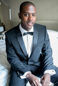 Hugo Boss formal black wedding tuxedo with bow tie