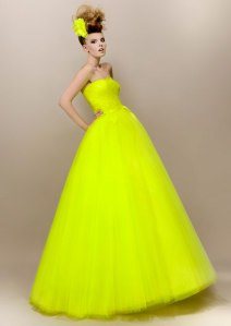 Max Chaoul canary yellow wedding dress couture