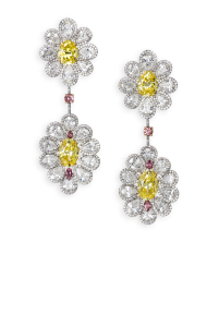 Yellow diamond flower earrings by David Morris of London
