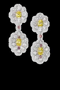 Yellow diamond flower earrings by David Morris of London