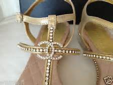 Chanel gold leather gladiator flat sandal