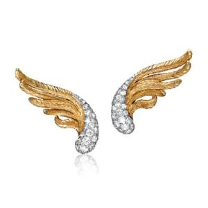 Vendura gold platinum and diamond Winged earrings