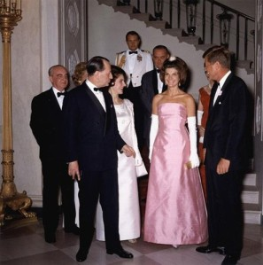 First Lady Jackie Kennedy in pink silk shangung
