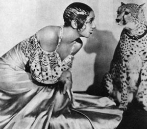 Josephine Baker with her leopard