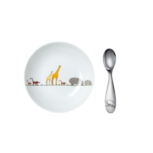Christofle Baby Cereal Bowl with Silver Spoon