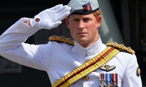 Prince Harry on parade in Sydney.