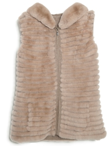 Glamour Puss NY Cashmere Vest with Hood Beige
