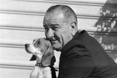 President Johnson with pet Beagle