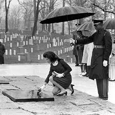First Lady Jackie Kennedy at President Kennedy  Arlington Grave Site