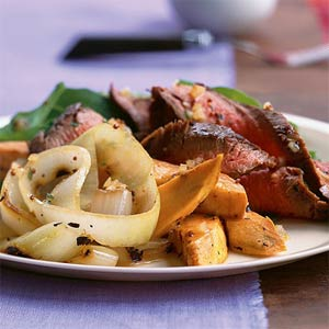 Beef Grilled Onion and Sweet Potato Salad