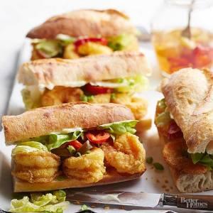 Crispy Cornmeal Shrimp Sandwich