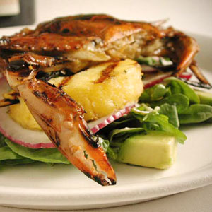 grilled-soft shell crab salad