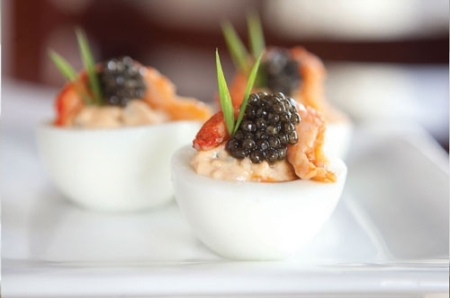 Crawfish Remoulade Deviled Eggs with Petrossian Caviar