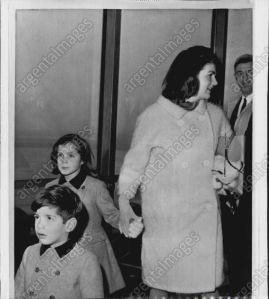 Former First Lady Jackie Kennedy with John Jr and Caroline