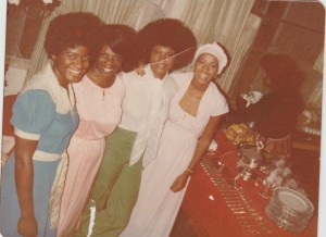 My Mother Lady Irma Erma and My Sister Gale and two other relatives at Christmas 1980's