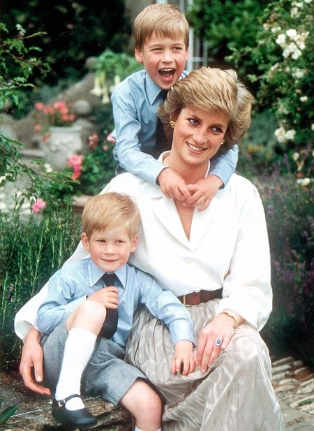 HRH Princess Diana with sons Will and Harry