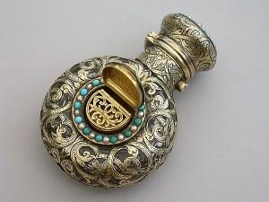 perfume bottle victorian-silver-gilt-mounted-scent-bottle-vinaigrette-turquoise-pearl-abraham-brownett-london
