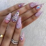 xmas Swarovski nails