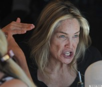 EXCLUSIVE: Sharon Stone, sans makeup, has a very animated lunch as she and her friends have lunch at Clafoutis restaurant along Sunset Plaza in West Hollywood, CA. Pictured: Sharon Stone Ref: SPL410529 260612 EXCLUSIVE Picture by: GoldenEye / London Entertainment/ Splash News Splash News and Pictures Los Angeles: 310-821-2666 New York: 212-619-2666 London: 870-934-2666 photodesk@splashnews.com