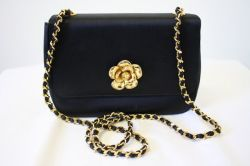 Chanel Camelia Clasp in Black Satin