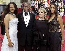 Sidney Poitier with wife Joanna and 2 Daughters