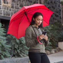 Texting Umbrella -red-Chloe-texting-armory