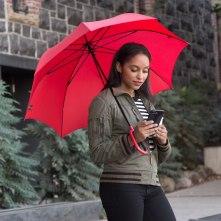 Texting Umbrella -red-Chloe-texting-armory